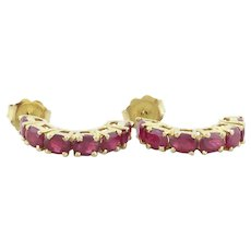 14k Yellow Gold Natural Ruby Earrings Half Hoop Earrings