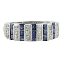 14k White Gold Natural Blue Sapphire and Diamond Band Ring Size 6 1/4