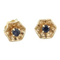 14k Yellow Gold Natural Blue Sapphire Flower Earrings Stud Post Earrings