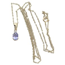 10k Yellow Gold Natural Tanzanite and Diamond Necklace 16 inch chain