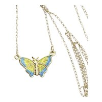 14k Yellow Gold Yellow and Blue Enamel Butterfly Necklace 16 inch chain Short Chain or Choker