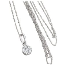 14K White Gold Diamond Cluster Necklace with 18 inch chain