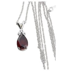 14K White Gold Natural Garnet and Diamond Necklace 18 inch chain