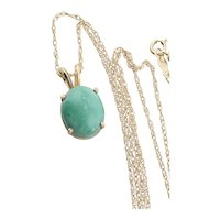 14k Yellow Gold Natural Turquoise Necklace with 18 inch chain