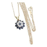 14K Yellow Gold Natural Blue Sapphire and Diamond Flower Necklace 18 inch Chain