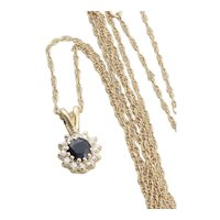 14k Yellow Gold Natural Blue Sapphire and Diamond Necklace 18 inch chain