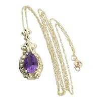 """10k Yellow Gold Natural Purple Amethyst Necklace with 18"""" inch Chain"""
