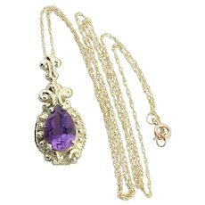 "10k Yellow Gold Natural Purple Amethyst Necklace with 18"" inch Chain"