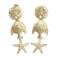 14k Yellow Gold Sand Dollar, Fish, Starfish Earrings Dangle Drop Earrings