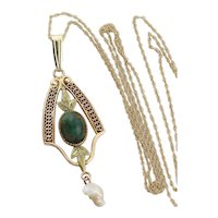 10k Yellow Gold Natural Bloodstone and Pearl Antique Victorian Necklace 18 inch chain