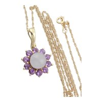 10k Yellow Gold Natural Purple Lavender Jade and Amethyst Necklace Enhancer Pendant 18 chain