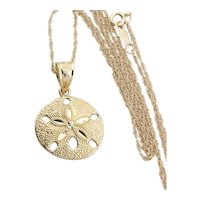 14k Yellow Gold Sand dollar Necklace 18 inch chain