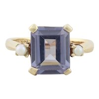 14k Yellow Gold Lab Created Purple Sapphire and Seed Pearl Ring Size 6 1/4