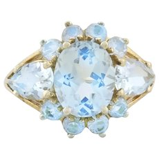 14k Yellow Gold Natural Aquamarine Ring Size 7 1/4