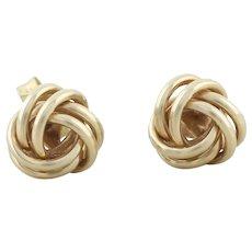 "14k Yellow Gold Knot Earrings Stud Post Earrings 5/16"" Round"