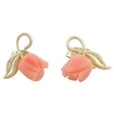 10k Yellow Gold Angel Skin Coral Flower Earrings Stud Post Earrings