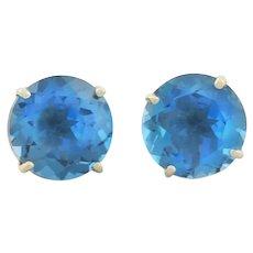 10k Yellow Gold Natural Barehipani Blue Topaz Earrings Stud Post Earrings