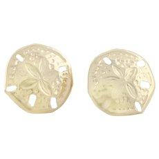 14k Yellow Gold Sand dollar Earrings Stud Post Earrings