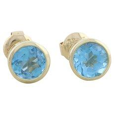 14k Yellow Gold Natural Swiss Blue Topaz Earrings Stud Post Earrings