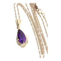 """14k Yellow Gold Natural Amethyst and Diamond Necklace 18"""" inch Chain"""