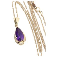 "14k Yellow Gold Natural Amethyst and Diamond Necklace 18"" inch Chain"
