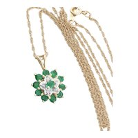 14k Yellow Gold Natural Emerald and Diamond Flower Necklace 18 inch chain