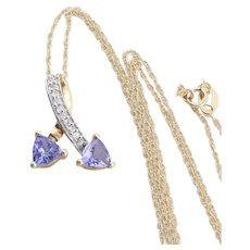 10k Yellow Gold Natural Tanzanite and White Topaz Necklace 18 inch chain