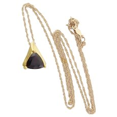 14k Yellow Gold Natural Garnet Necklace 18 inch chain