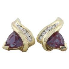 10k Yellow Gold Lab Created Alexandrite and Diamond Earrings Stud Post Earrings