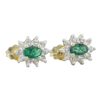 10k Yellow Gold Natural Green Emerald and Diamond Earrings Stud Post Earrings