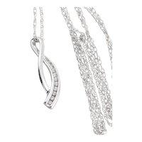 10K White Gold Diamond Necklace 18 inch chain