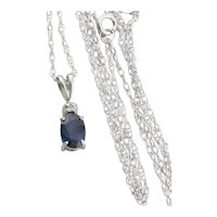 10k White Gold Natural Sapphire and Diamond Necklace with 18 inch Chain