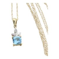 10K Yellow Gold  Natural Blue Topaz and Diamond Necklace 18 inch chain