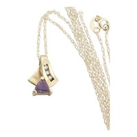 10k Yellow Gold Lab Created Alexandrite  and Diamond Necklace 18 inch chain