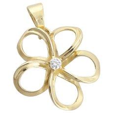 14k Yellow Gold Diamond Plumeria Flower Pendant Only