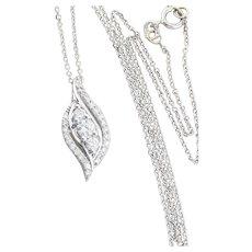 14k White Gold .50 carat Diamond Necklace 16.5 inch chain