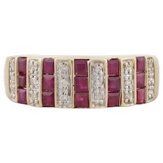14k Yellow Gold Natural Ruby and Diamond Band Ring Size 8