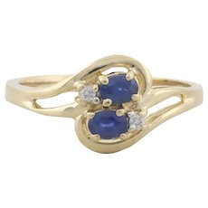 14k Yellow Gold Natural Blue Sapphire and Diamond Ring Size 7 1/4