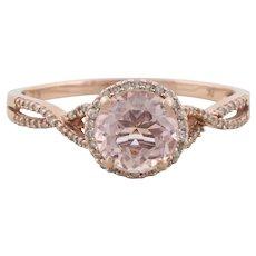 10k Rose Gold Natural Morganite and Diamond Ring Size 8 1/4