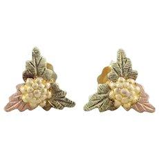 10k Black Hills Gold Earrings Leaf Stud Post Earrings