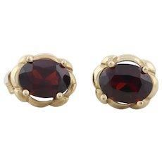 10k Yellow Gold Natural Garnet Earrings Stud Post Earrings