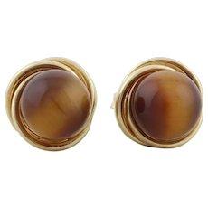 14k Yellow Gold Cats Eye Quartz Earrings Stud Post Earrings