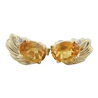 14k Yellow Gold Natural Citrine and Diamond Earrings Stud Post Earrings