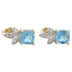 10k Yellow Gold Natural Blue Topaz and Diamond Earrings Stud Post Earrings