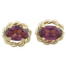 14k Yellow Gold Natural Raspberry Rhodolite Garnet Earrings Stud Post Earrings