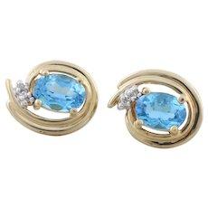 14k Yellow Gold Natural Blue Topaz and Diamond Earrings Stud Post Earrings