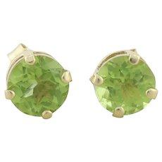 14k Yellow Gold Natural Green Peridot Earrings Stud Post Earrings