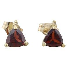 10k Yellow Gold Natural Garnet and Diamond Earrings Stud Post Earrings