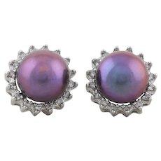 10k White Gold Peacock Freshwater Pearl and Diamond Earrings Stud Post Earrings