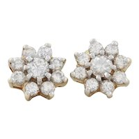 14k Yellow Gold Diamond Flower Earrings Stud Post Earrings .80tcw